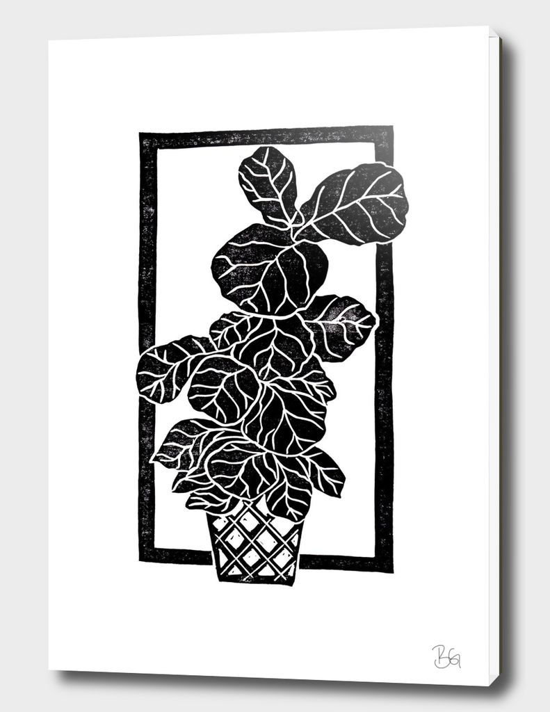 Fiddle Leaf Fig Block Print