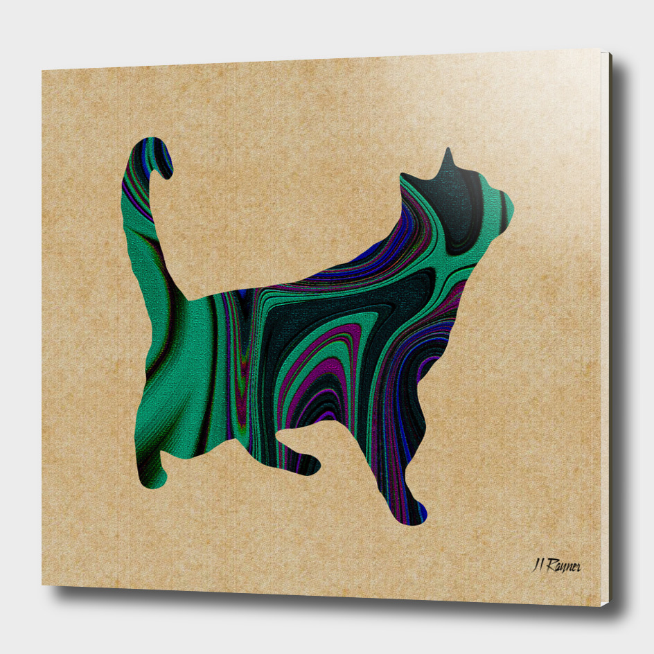 Standing Green Abstract Cat