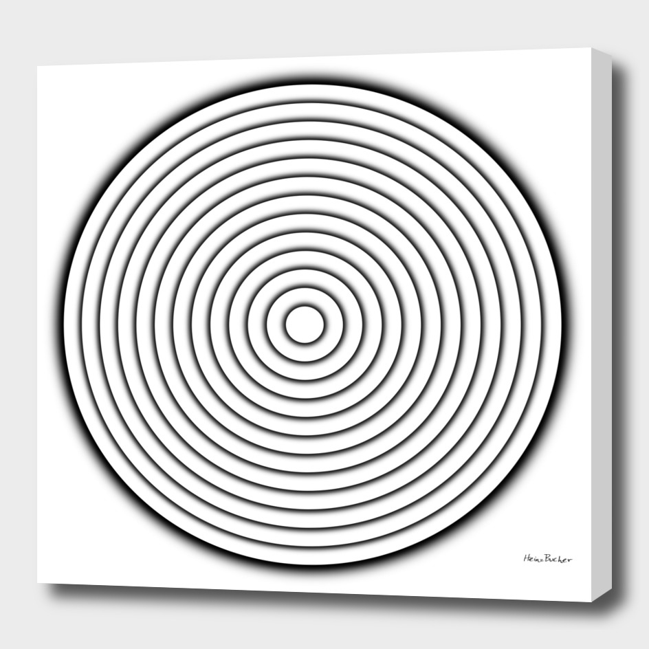 Concentric white circles with black shadow