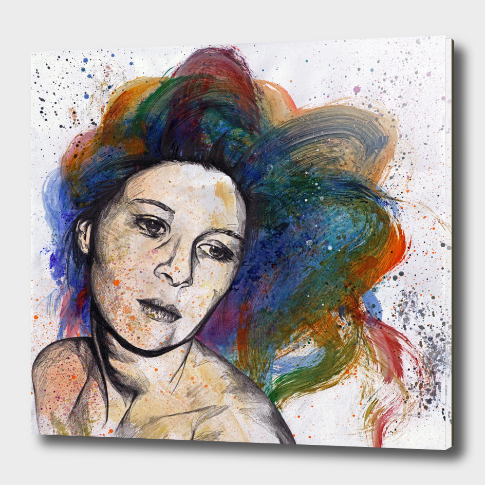 Crystal (street art female portrait with rainbow hair)