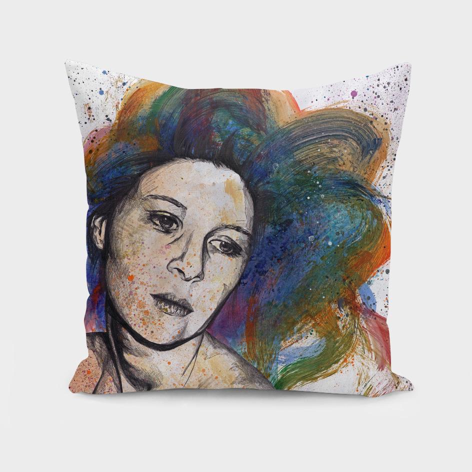Crystal (street art female portrait with rainbow hair)