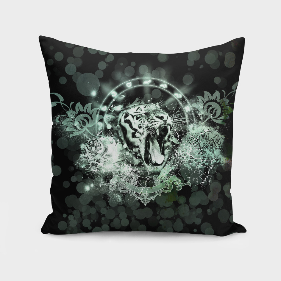 Awesome tiger on black background