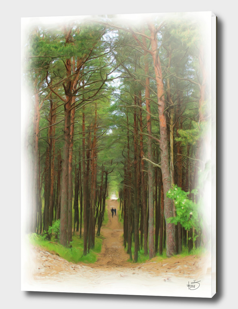 Couple in the beautiful green forest