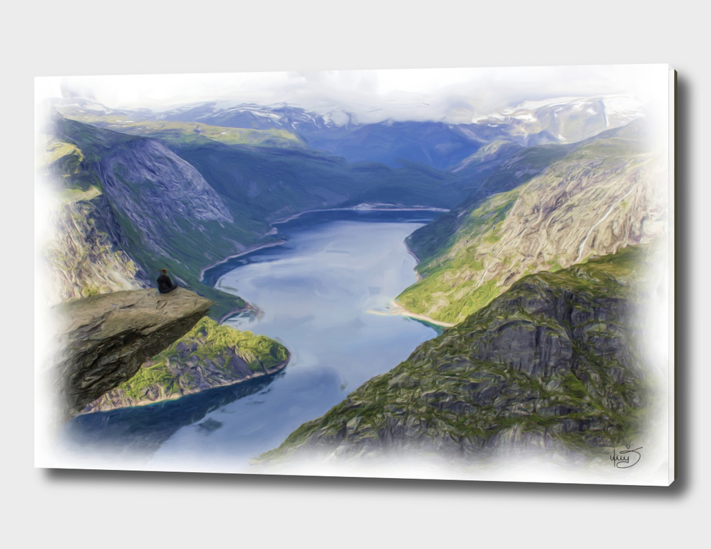 Beautiful Norway Mountains Fjord / Troll Tongue / lake