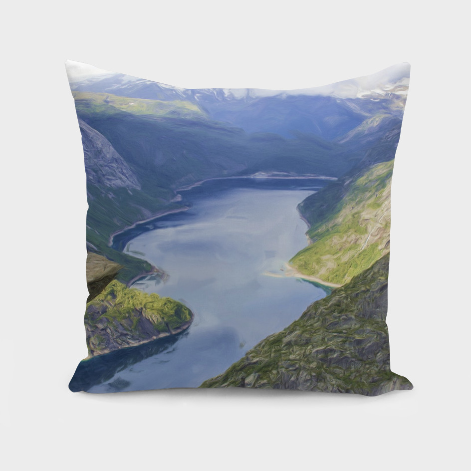 Beautiful Norway Mountains Fjord / Troll Tongue / lake