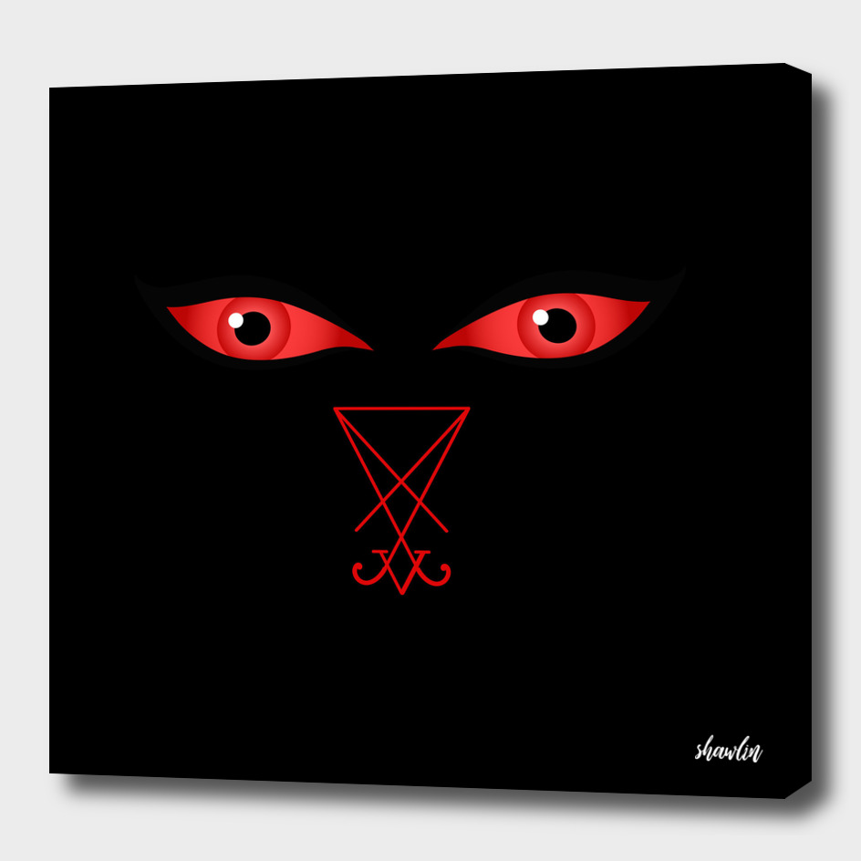Eyes of the devil with sigil of Lucifer