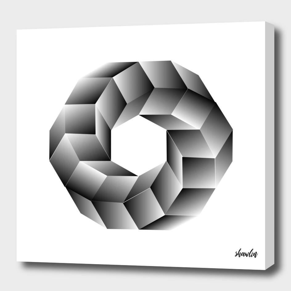 Hexagon and cubes with optical illusion effect