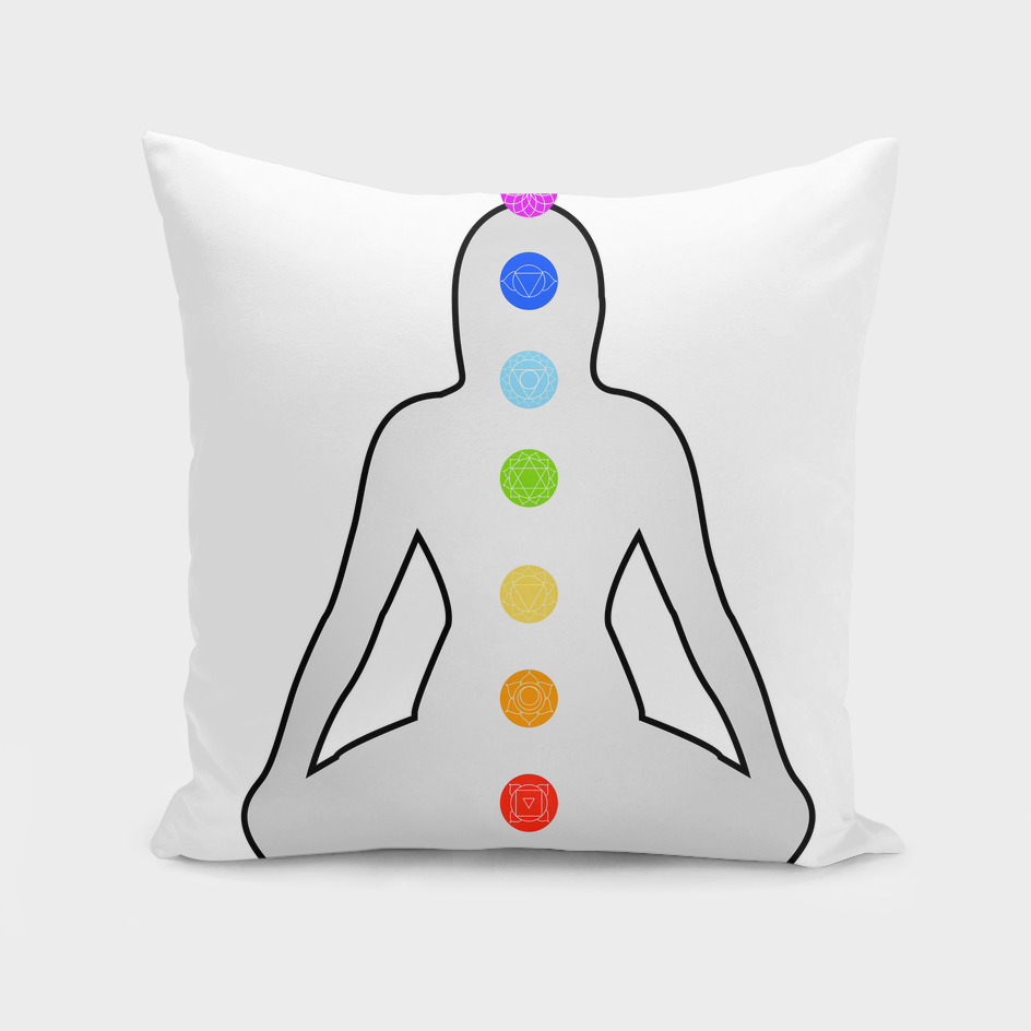 The seven chakras with their respective colors and symbols