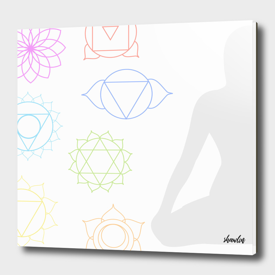 Chakra icons in respective colors with meditating person