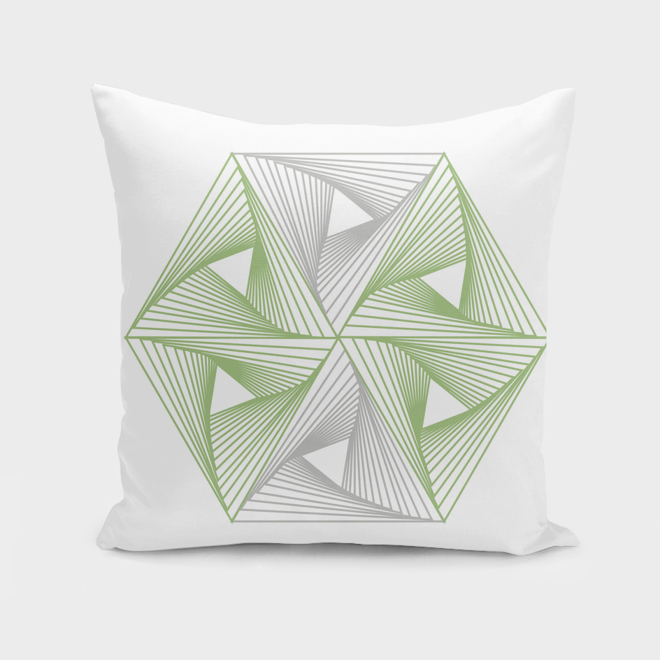 Optical illusion forming hexagon with triangles
