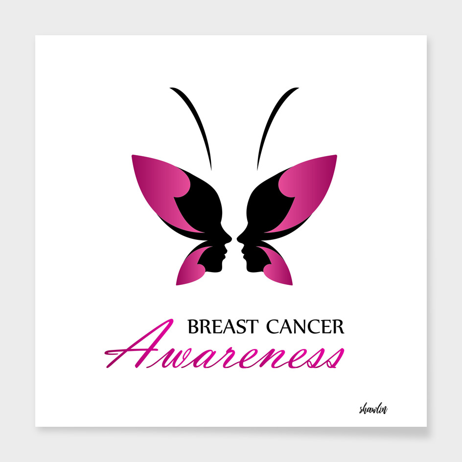 Breast Cancer Awareness with pink butterfly