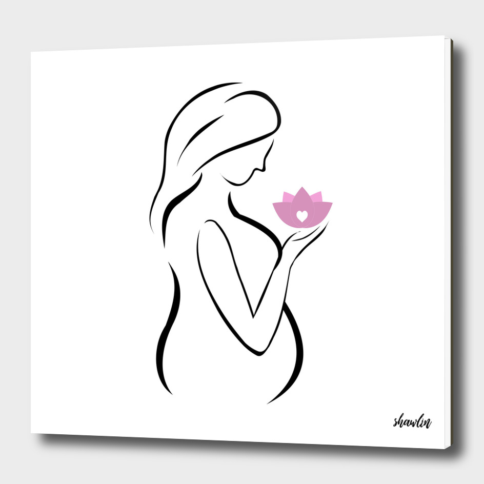 Pregnant mother holding a pink lotus flower