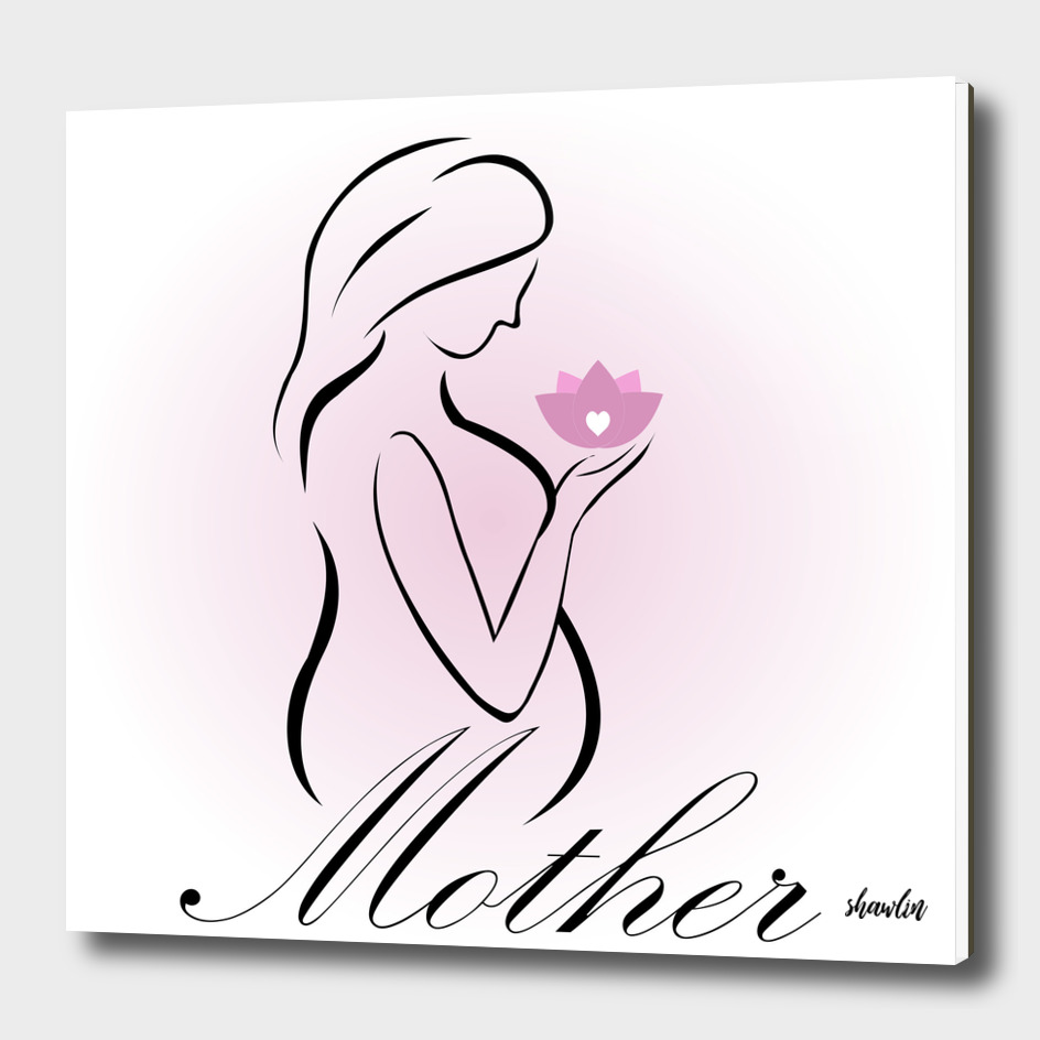 Pregnant mother holding a pink lotus flower- mom to be