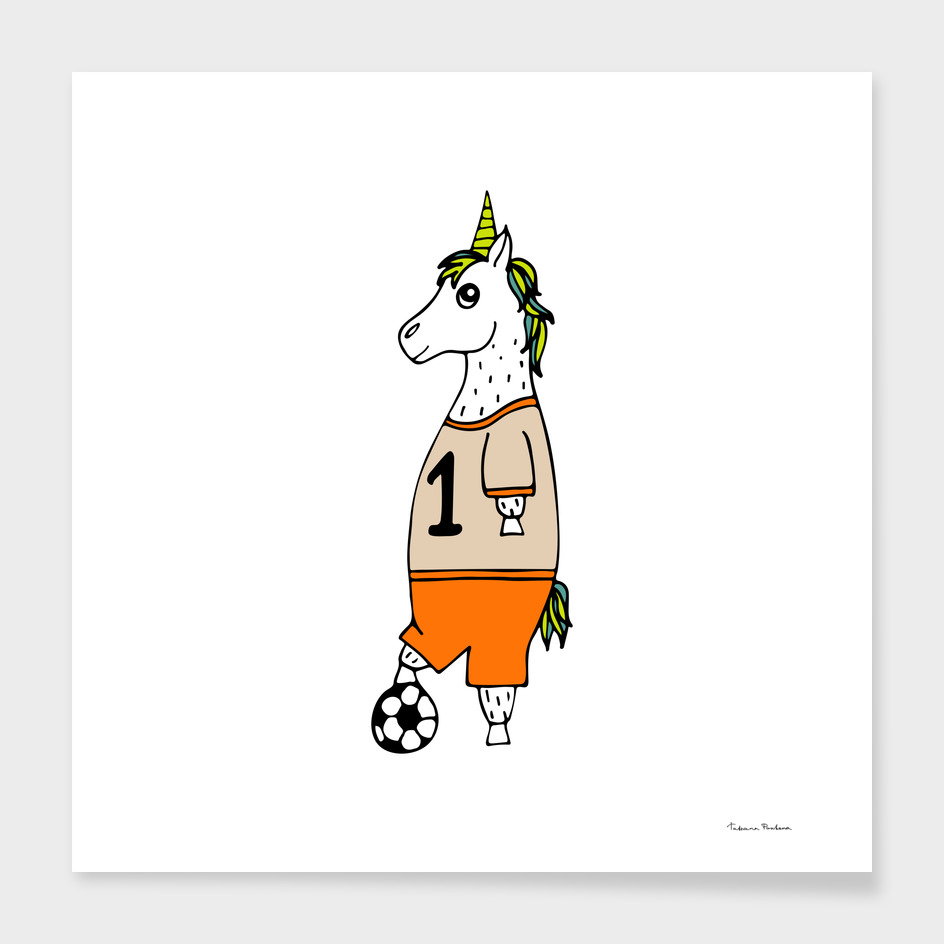 The lovely hand-drawn unicorn-football player with a ball.