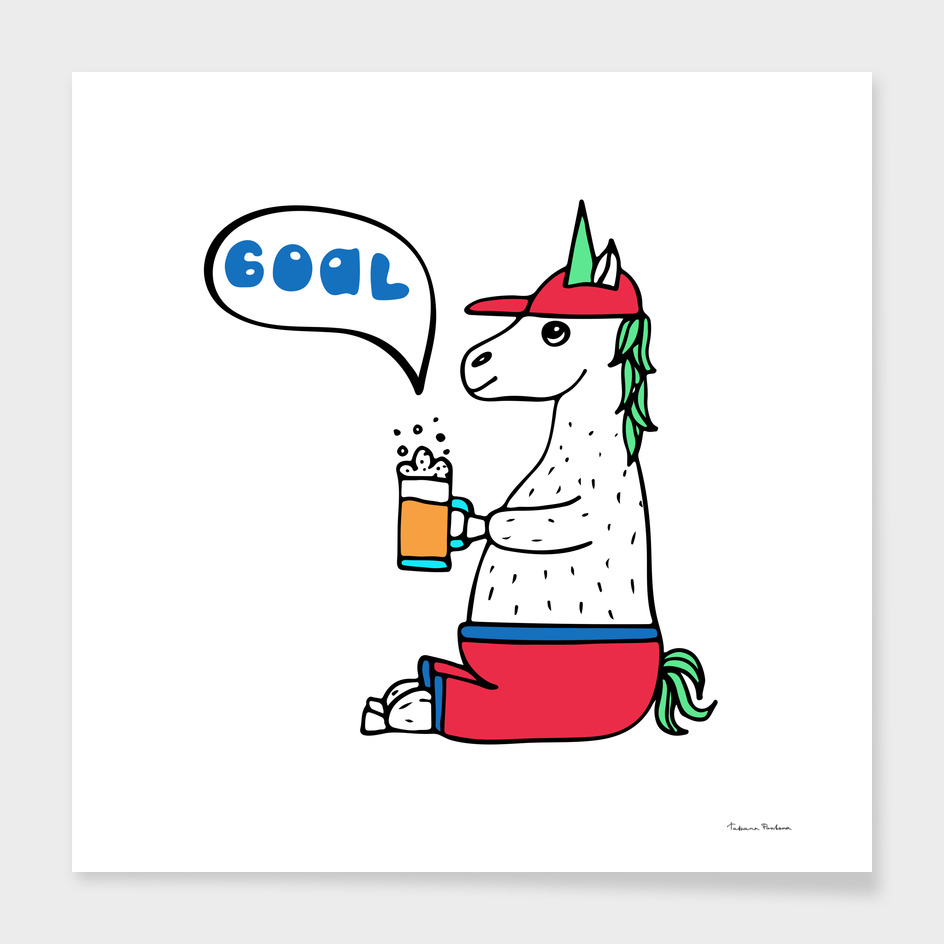 Lovely hand-drawn unicorn-football fan with a glass of beer.