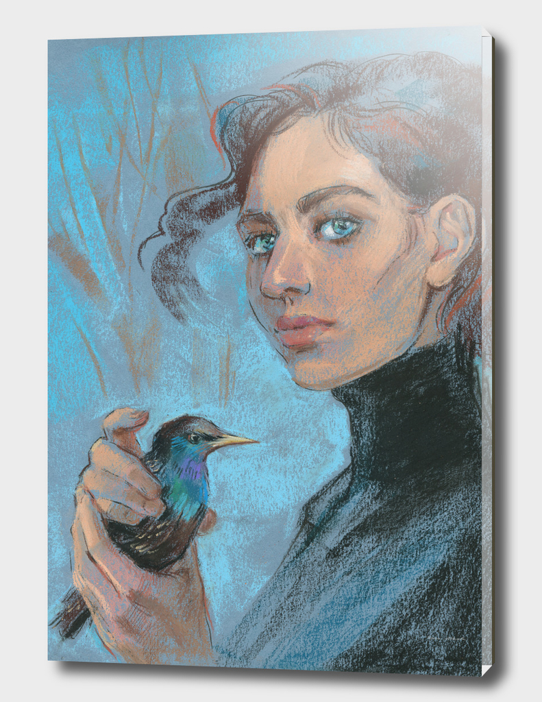 A girl with a starling