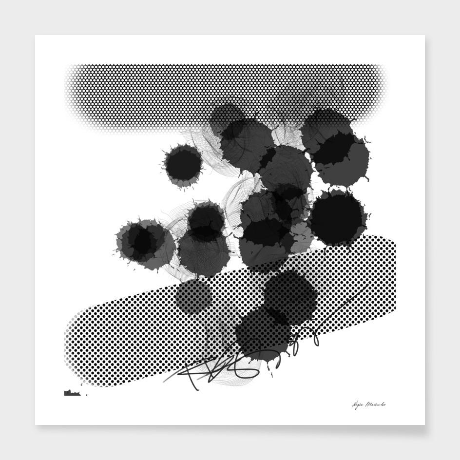 Black White Digital Art Dots and Splash