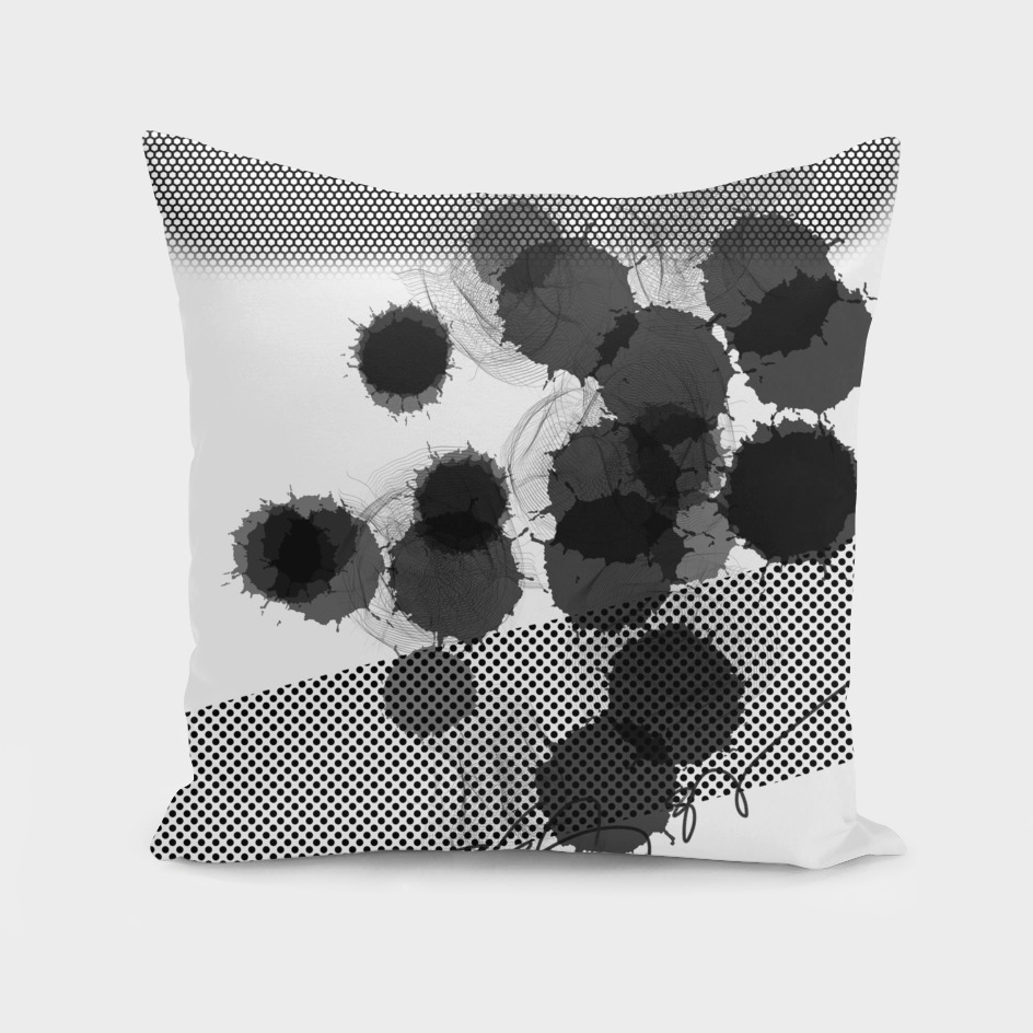 Black White Digital Art Dots and Splash