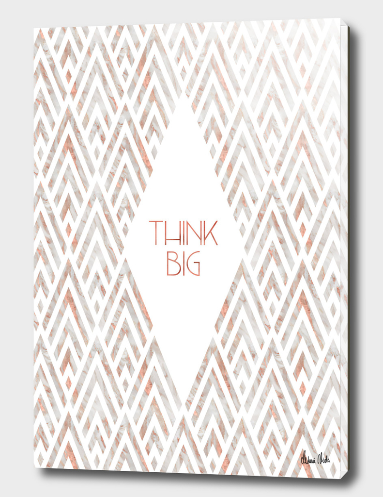 Graphic Art THINK BIG | rose gold & marble