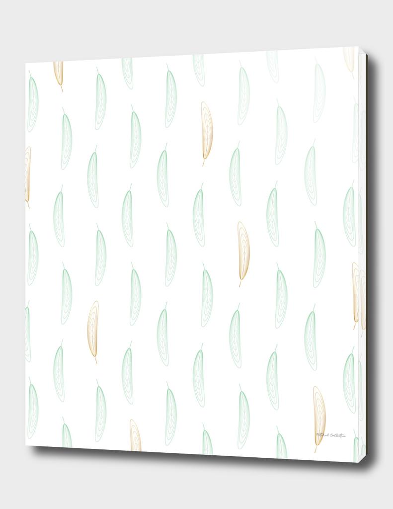 Geometric Feather Pattern - Green & Gold #442