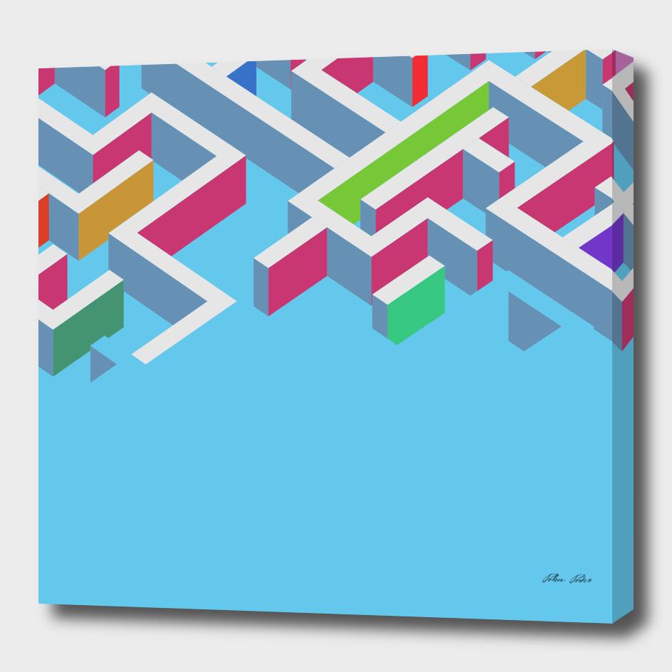 Vectors 3d colorfull maze on blue background