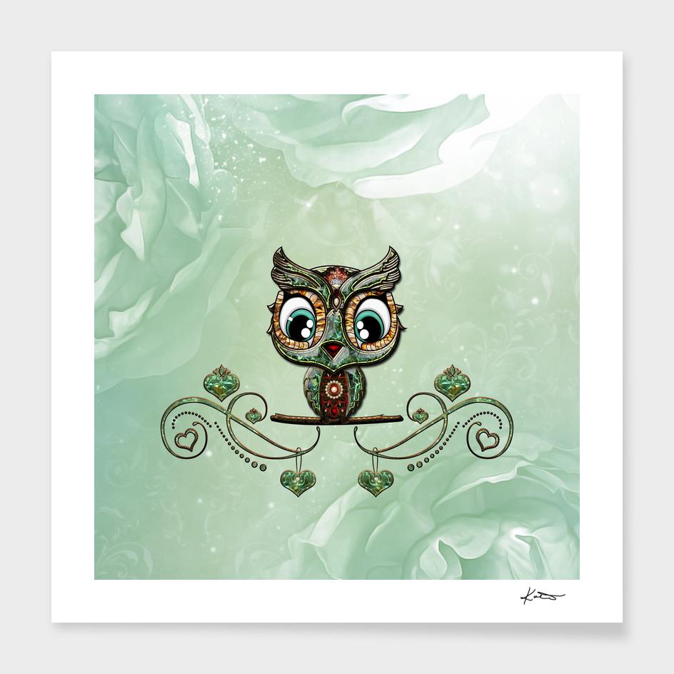 Cute little owl, green diamond