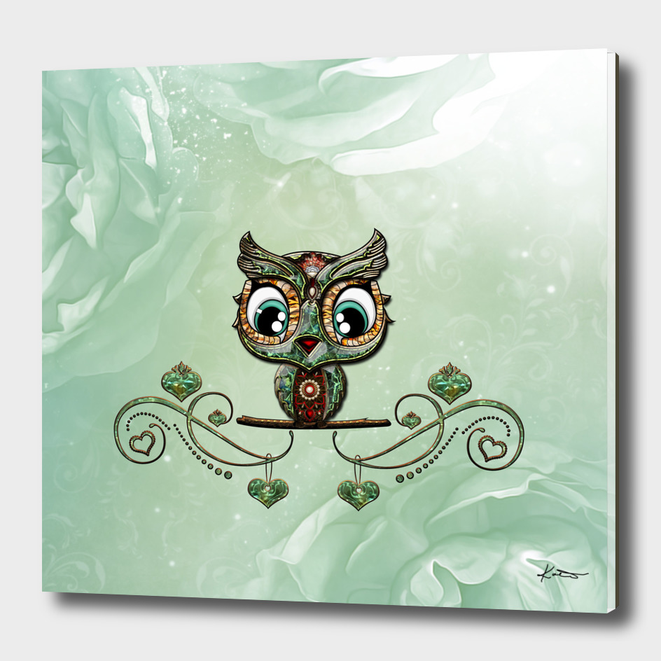 Cute little owl, green diamond