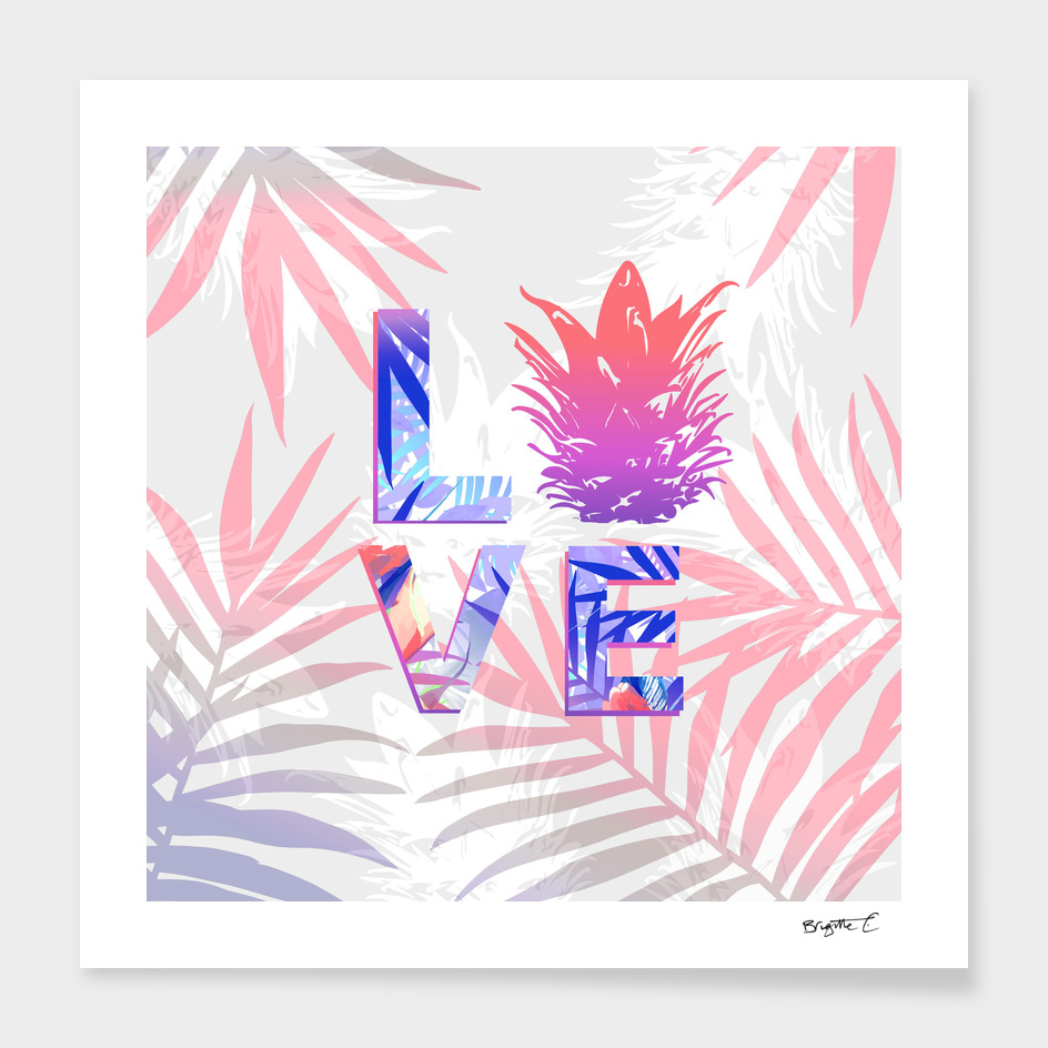 Love Pineaple Typography Tropical Boho Summer Vibes