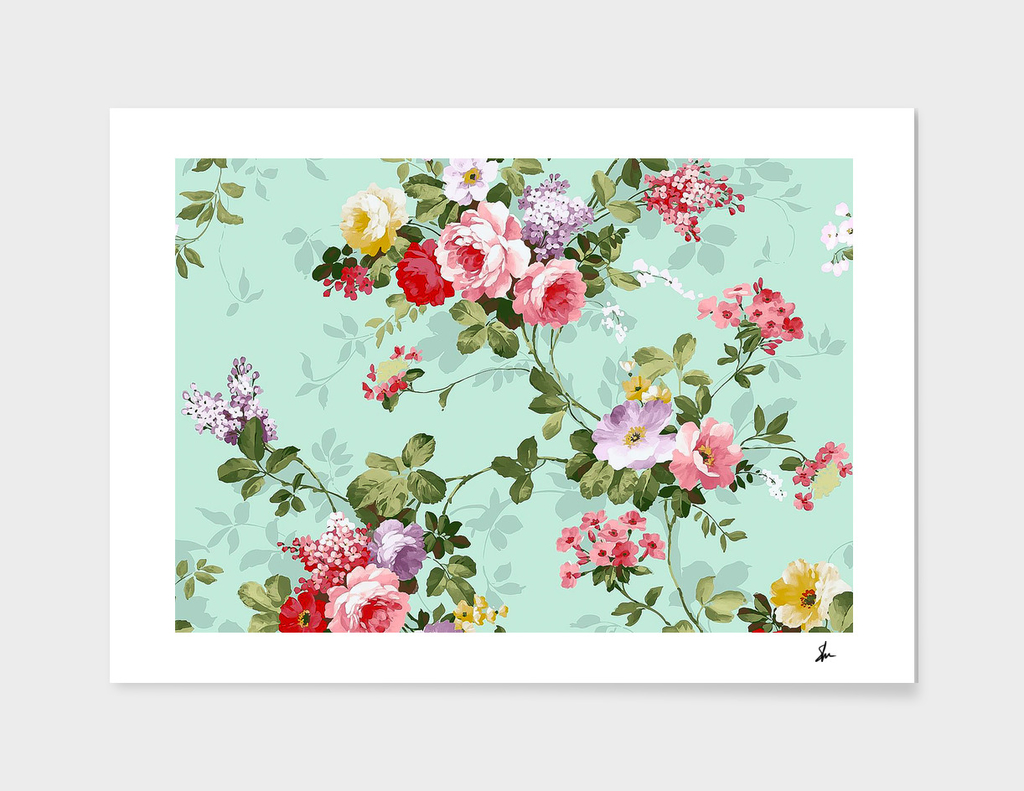 Vintage Floral Pink and Red Roses