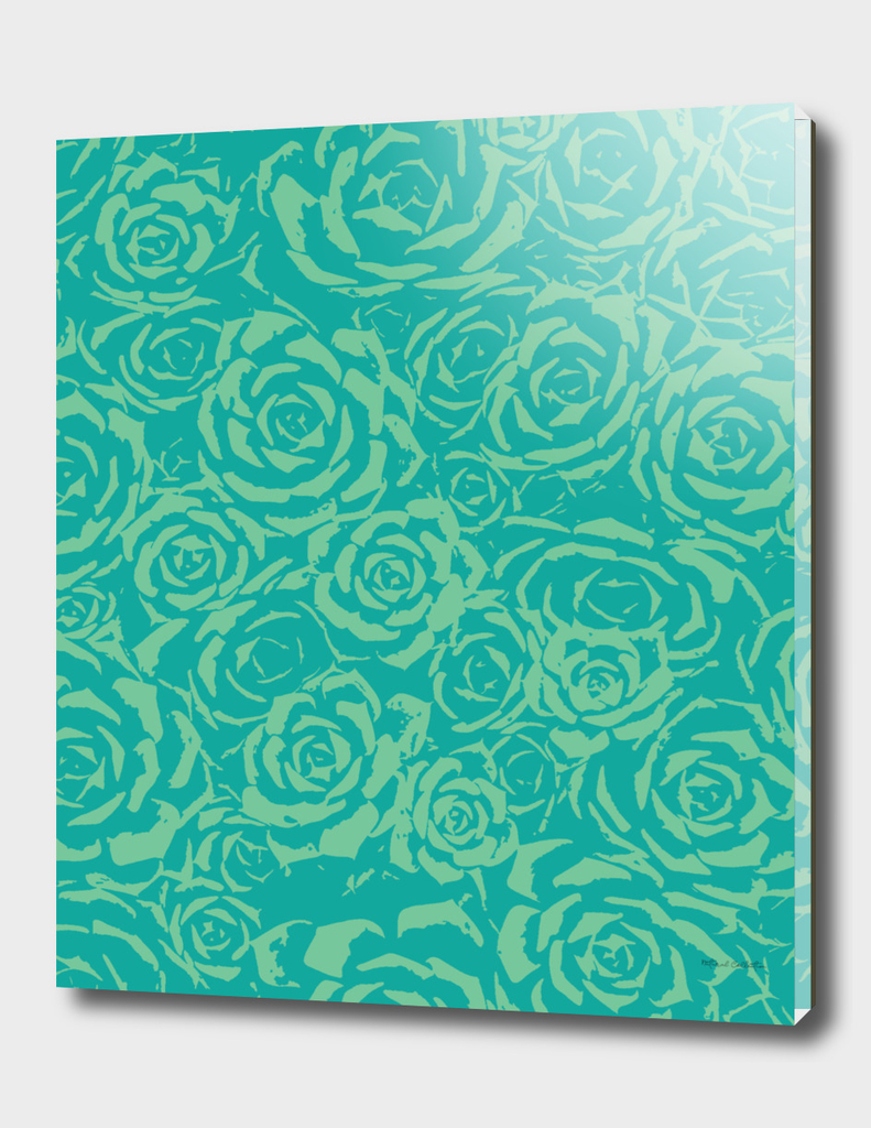 Succulent Stamp Teal & Green #682