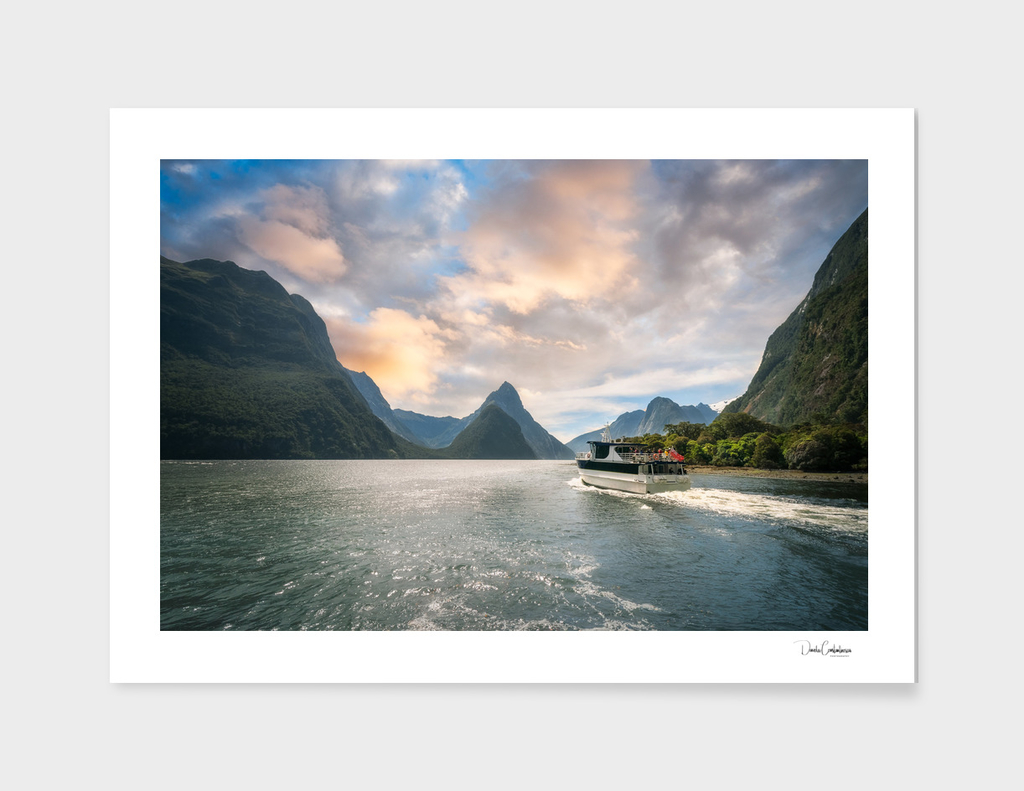 A Cruise going into Sunset at Milford Sound