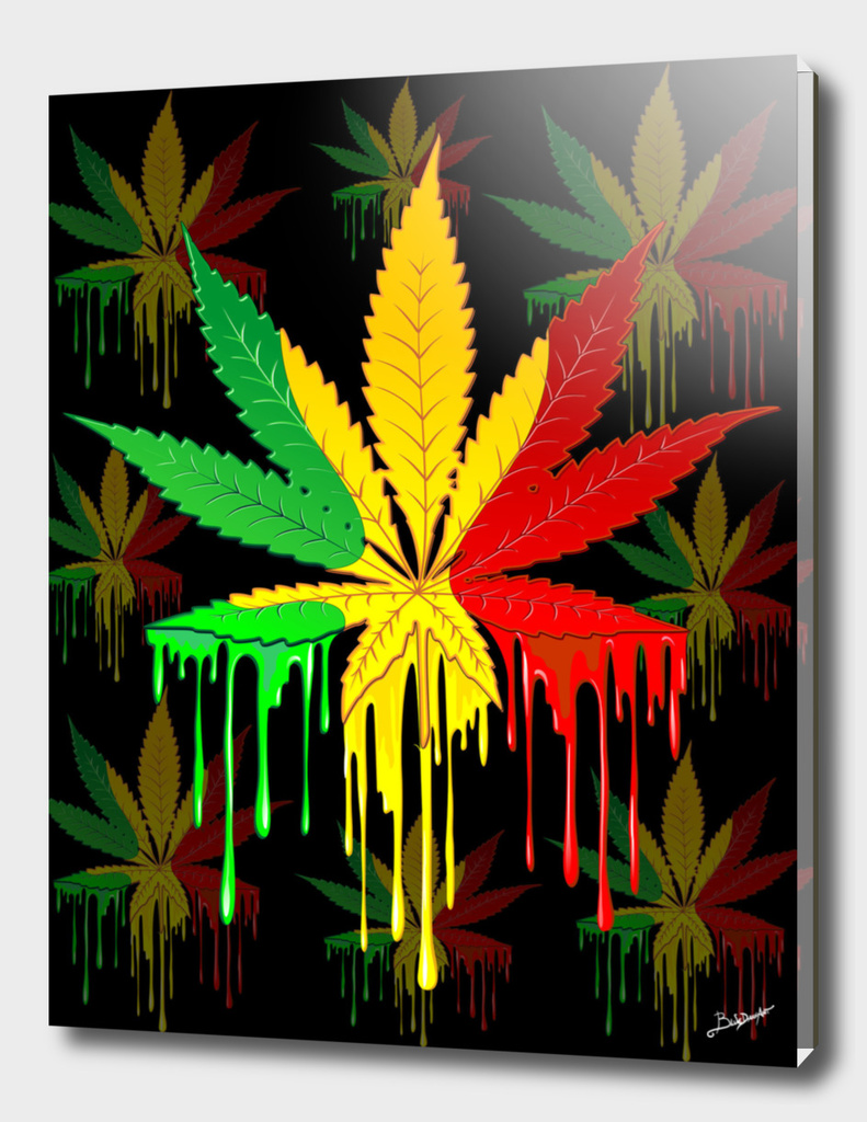 Marijuana Leaf Rasta Colors Dripping Paint