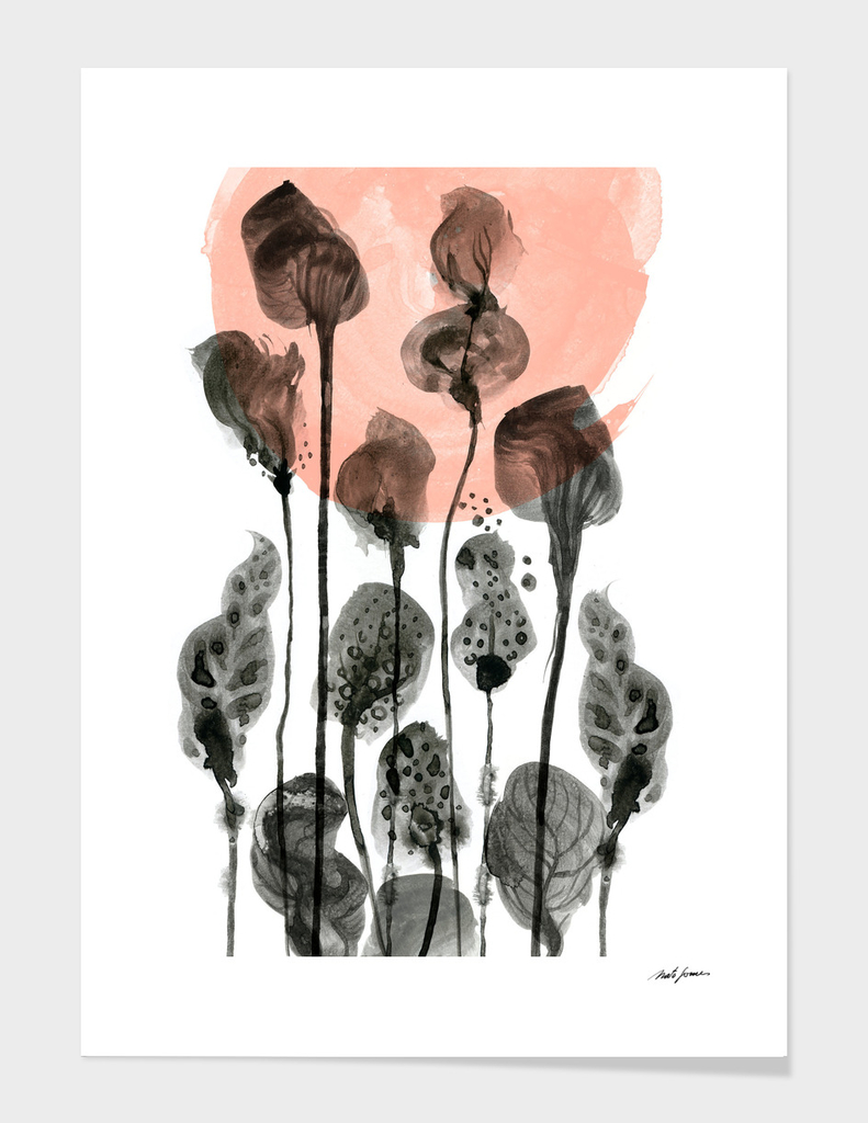 Composition with flowers and leaves