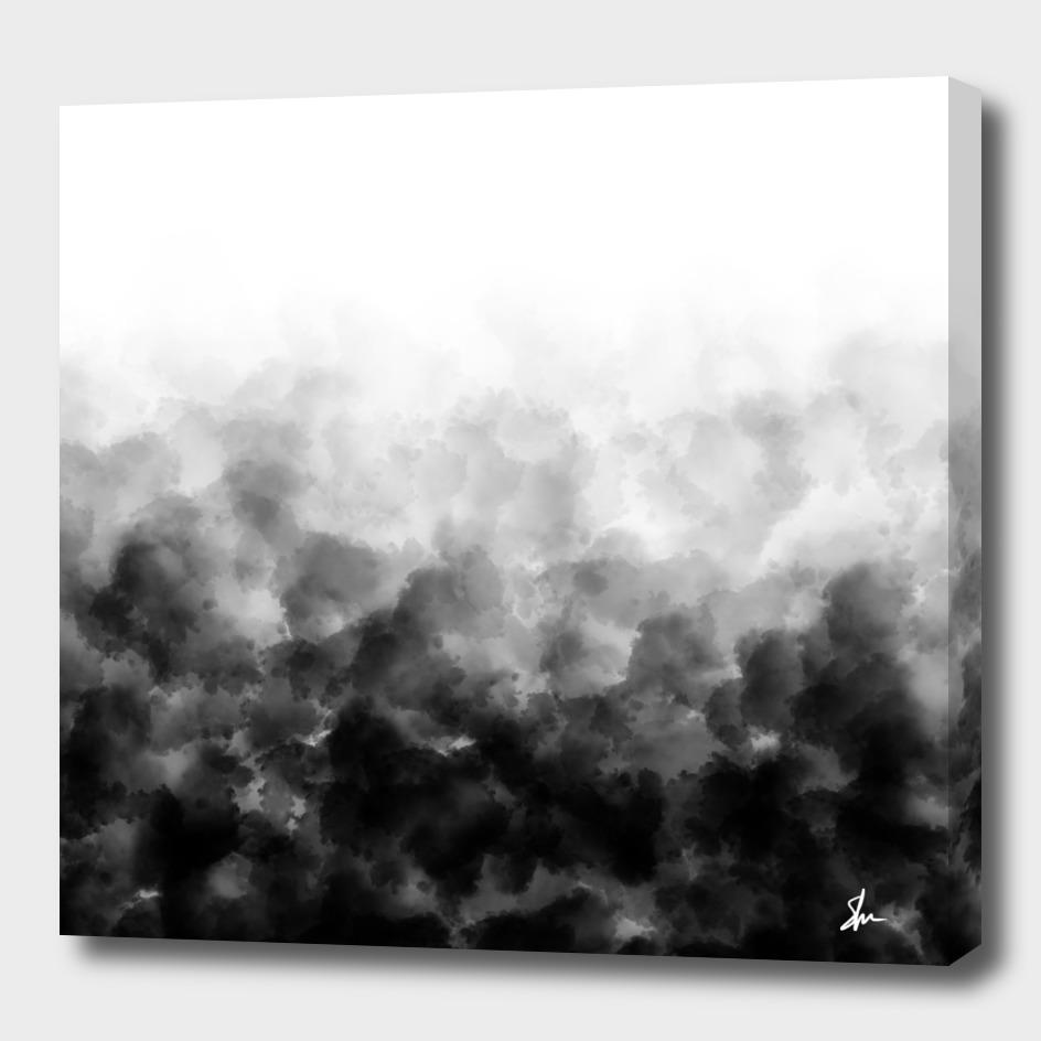 Ombre Black White Clouds Minimal