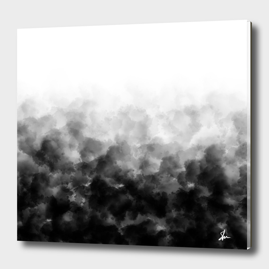Ombre Black White Clouds Minimal