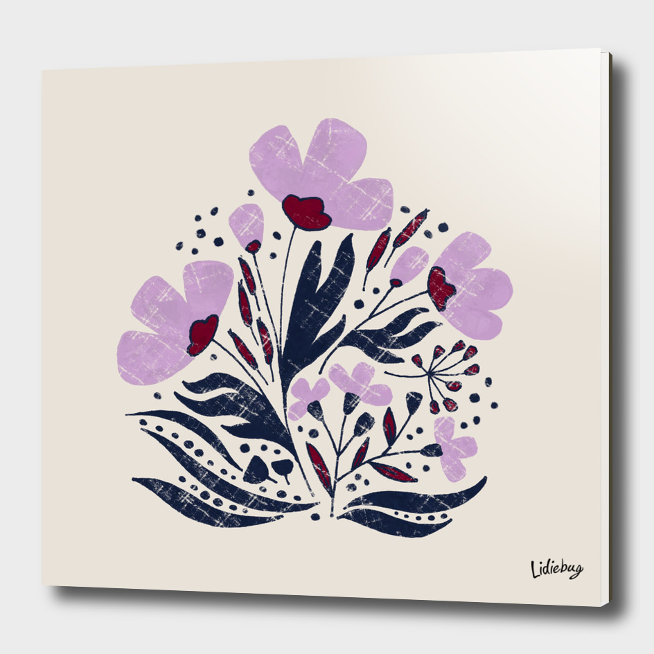 Navy and Orchid Floral Dance