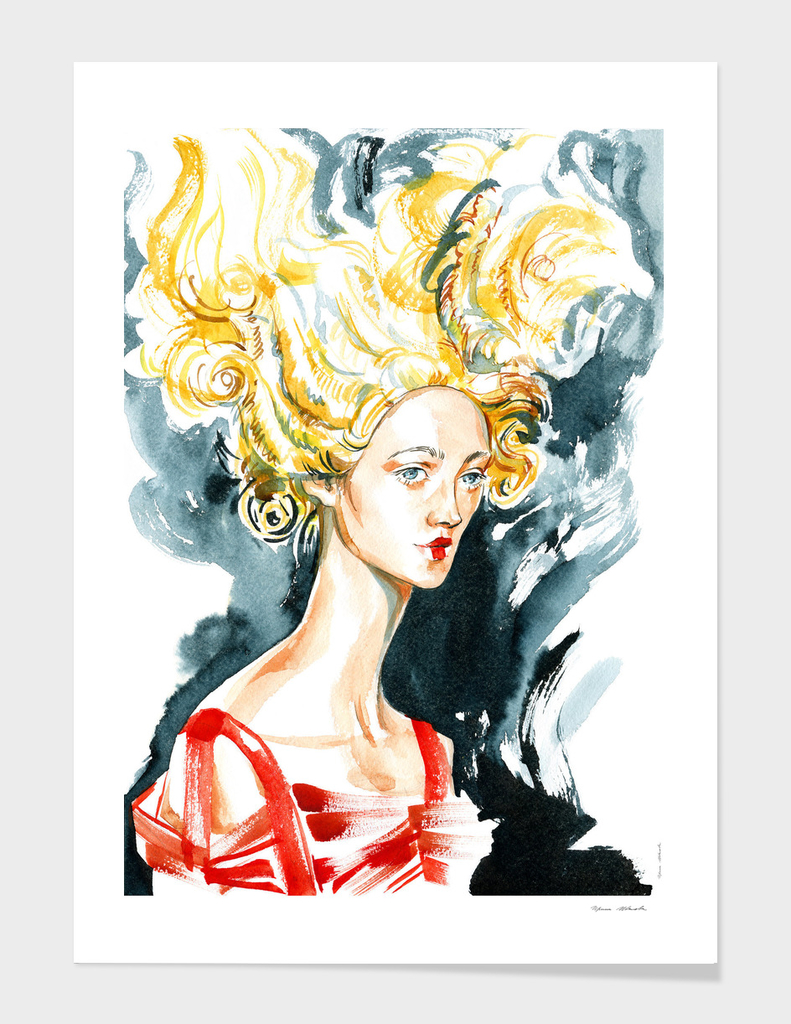 A girl with a rococo hairstyle