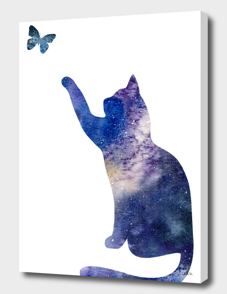 cat with butterfly