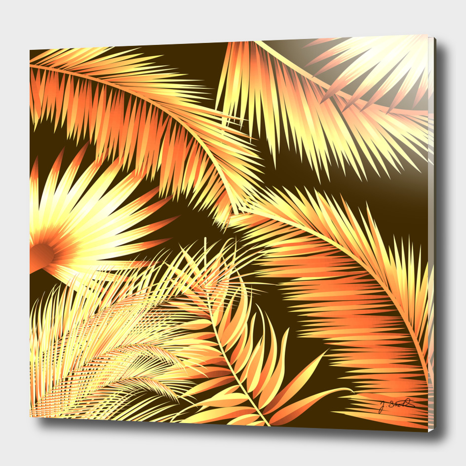 Brown palm leaves