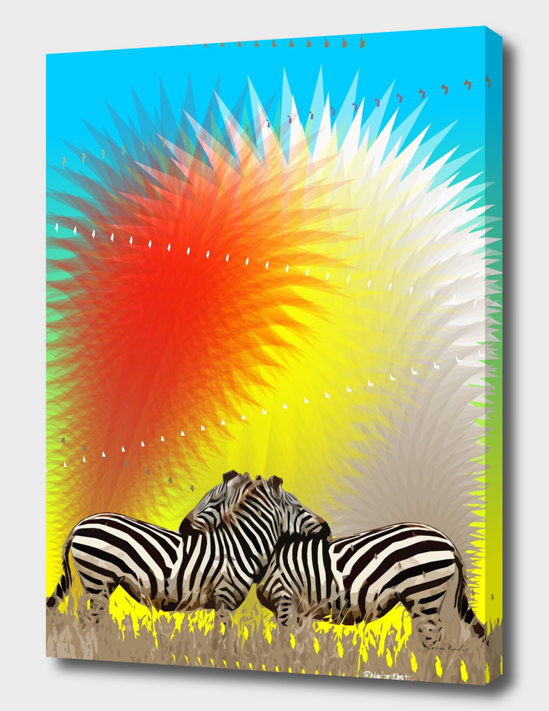 Zebras on Colorful Fountain
