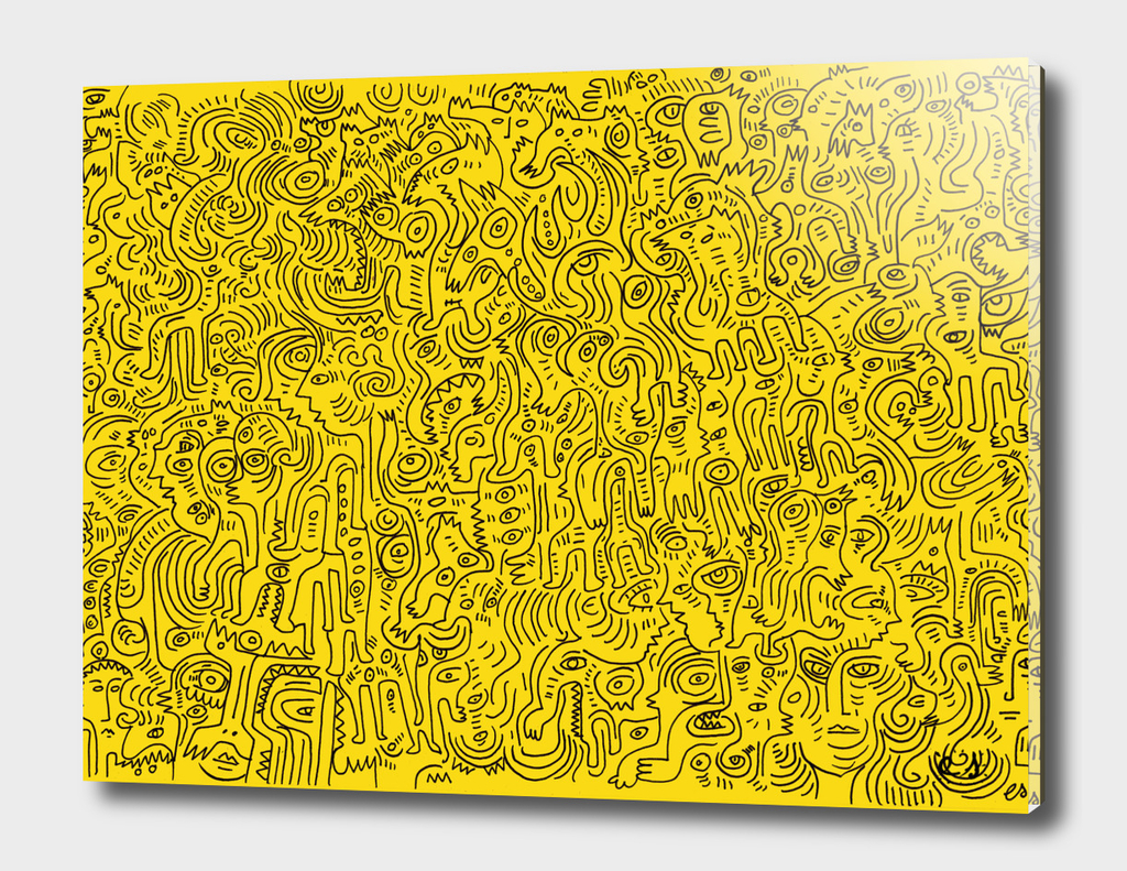 Yellow Graffiti Street Art Original Scan