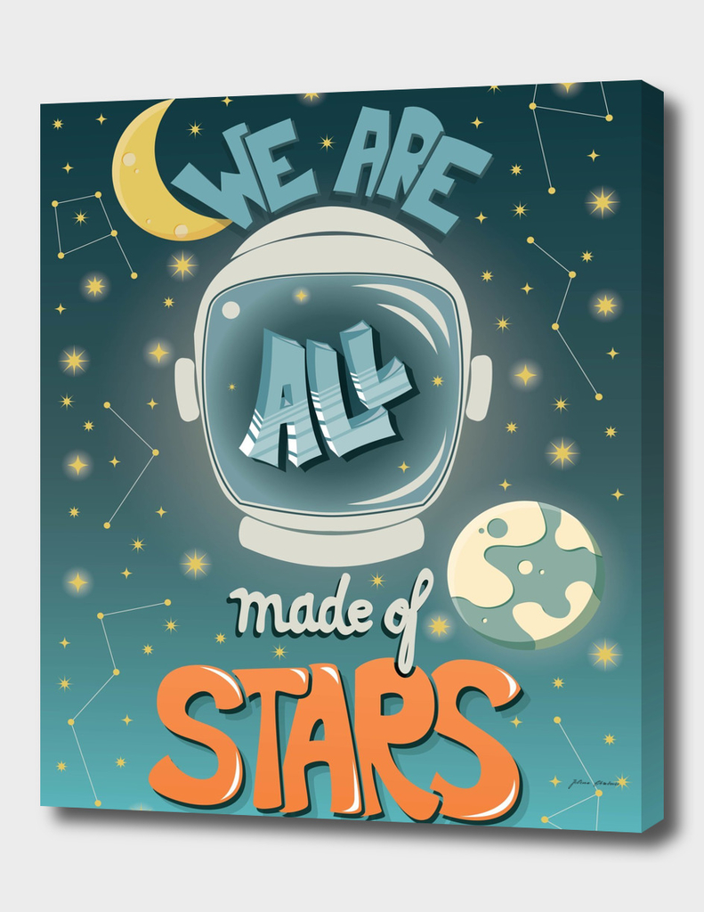We are all made of stars, typography poster design, green