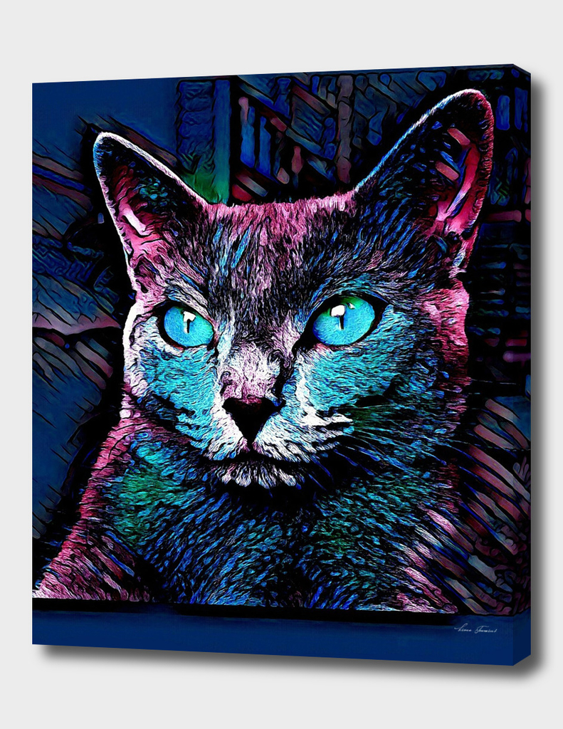 BLUE CAT PAINTING