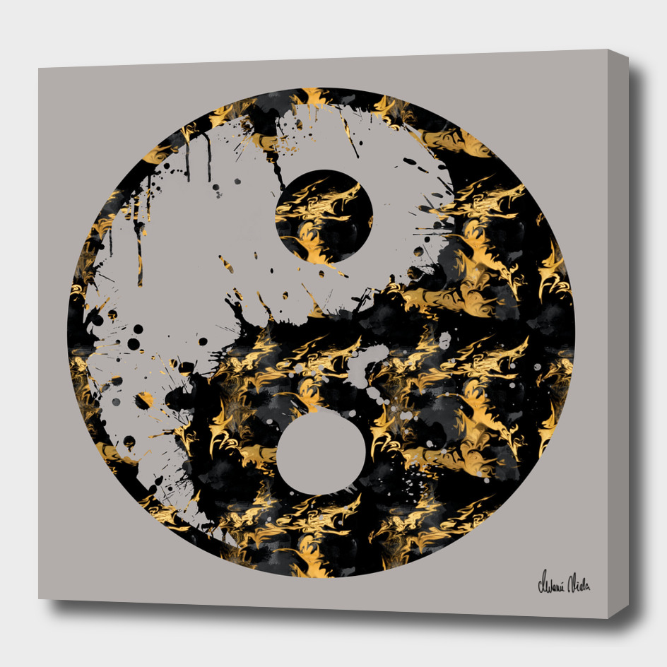Abstract YIN AND YANG Taijitu Symbol   grey & gold