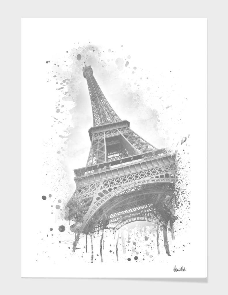 Watercolor Eiffel Tower   grey
