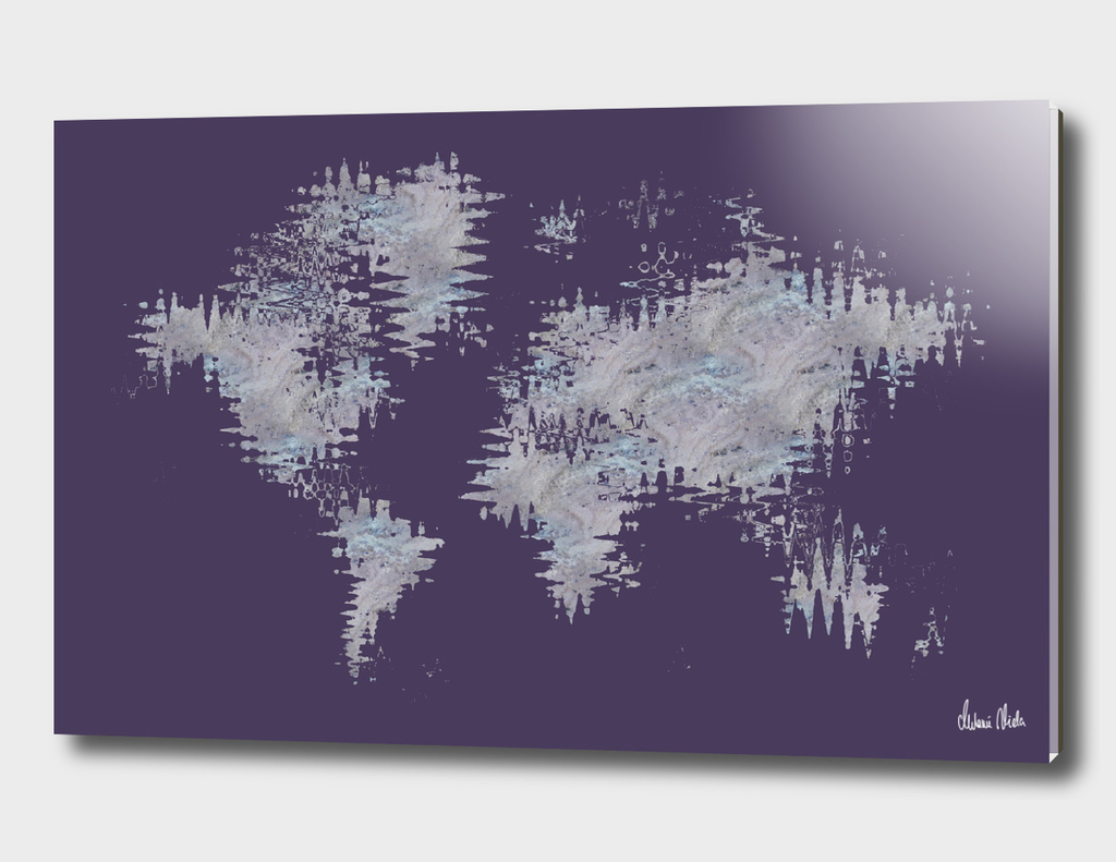 GRAPHIC ART Abstract World Map | violet & marble