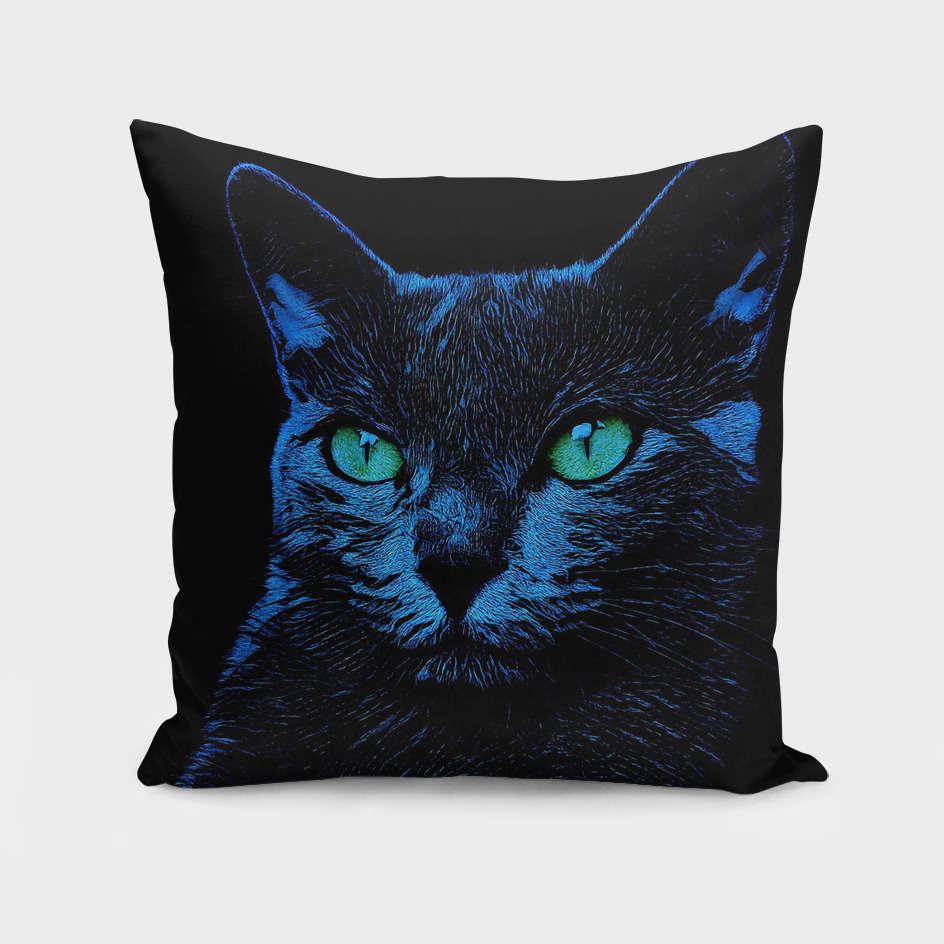 BLUE CAT ON BLACK