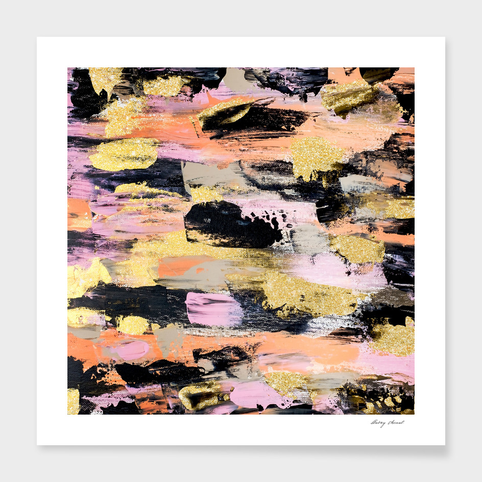 Modern abstract black pink salmon gold acrylic brushstroke