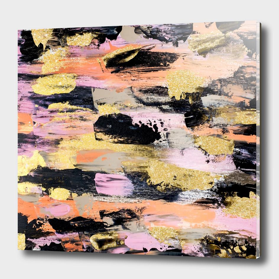 Modern abstract black pink salmon gold acrylic brushstroke