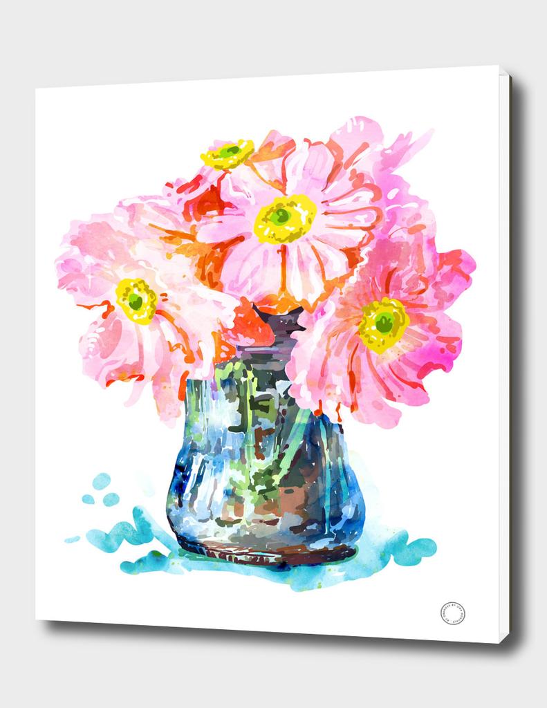 Watercolor Flower Pot